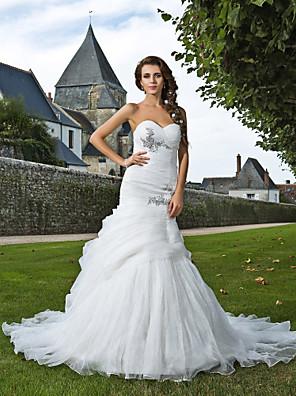 Lanting Bride® Sereia Pequeno / Tamanhos Grandes Vestido de Noiva - Elegante e Luxuoso Cauda Capela Coração Organza com