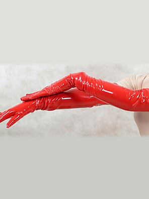 Luvas Ninja Fantasia Zentai Fantasias de Cosplay Vermelho Cor Única Luvas PVC Unisexo Dia Das Bruxas / Natal