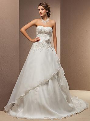 Lanting Bride® A-Linie / Princess Drobná / Nadměrné velikosti Svatební šaty - Klasické & nadčasové Retro Velmi dlouhá vlečka SrdceKrajka