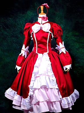 קיבל השראה מ Black Butler Elizabeth אנימה תחפושות Cosplay חליפות קוספליי / שמלות טלאים אדום שרוולים ארוכיםשמלה / רצועת ראש / צעיף / עניבה