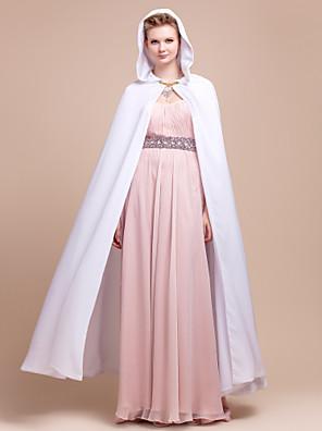 כורכת חתונה / כיסויי ראש ופונצ'ו שכמיות שיפון לבן חתונה / מסיבה / ערב אבזם