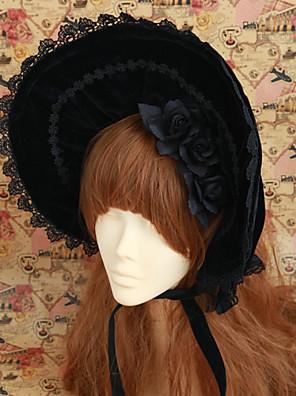 손으로 만든 검은 색은 활 벨벳 클래식 로리타의 보닛 장미