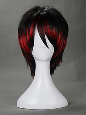Lolita Wigs Punk Lolita Zářící barvy Krátké Červená / Černá Lolita Paruky 35 CM Cosplay Paruky Barevné bloky Paruka Pro Dámské