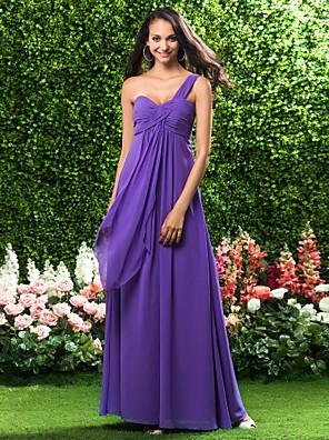 Lanting Bride® עד הריצפה שיפון שמלה לשושבינה - מעטפת \ עמוד כתפיה אחת פלאס סייז (מידה גדולה) / פטיט עם קפלים / בד בהצלבה