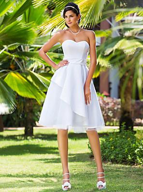 Lanting Bride A-line / Princess Petite / Plus Sizes Wedding Dress-Knee-length Sweetheart Satin / Tulle