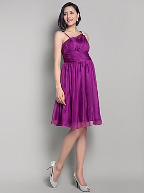 Lanting Bride® Ke kolenům Šifón Šaty pro družičky A-Linie / Princess Popruhy Těhotenské sMašle / Nabírání / Křišťálová brož / Boční