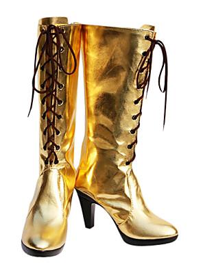 Cosplay boty Vocaloid Megurine Luka Anime Cosplay obuv Zlatá PU kůže Dámský
