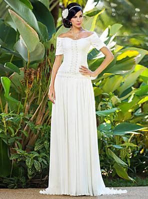 lanting novia vaina / columna de pequeña / más el tamaño de la boda del vestido de barrido / cepillo tren gasa fuera del hombro