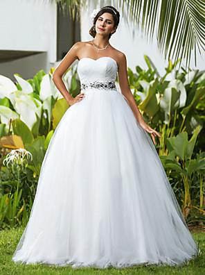Lanting Bride® נשף מידה גדולה / קטן שמלת כלה - קלסי ונצחי / אלגנטי ויוקרתי עד הריצפה מחשוף לב טול עם חרוזים / בד בהצלבה