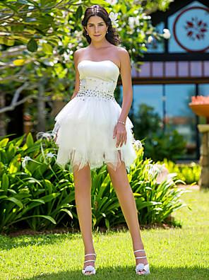 Lanting noiva vestido de baile petite / mais tamanhos de casamento vestido curto / mini-alças de cetim / tule