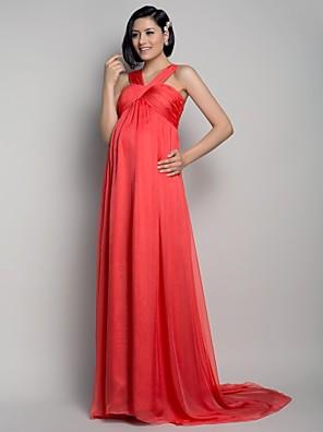 ts couture® avondjurk - elegant moederschap a-lijn riemen sweep / borstel trein chiffon met draperen / criss cross