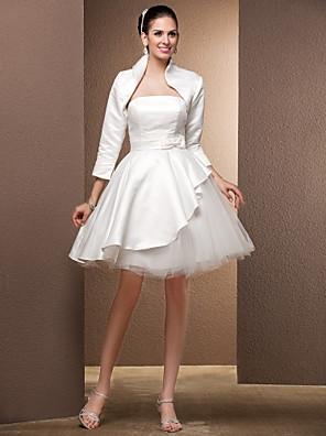 Lanting Bride® Princess Petite / Plus Sizes Wedding Dress - Reception Wedding Dresses With Wrap / Little White Dresses / Two-In-One
