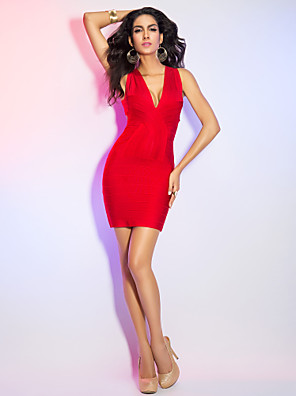 Cocktail Party / Holiday Dress Petite Sheath / Column V-neck Short / Mini Rayon with Bandage