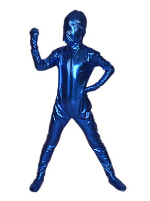 חליפות Zentai מבריקות Ninja Zentai תחפושות קוספליי כחול אחיד /סרבל תינוקותבגד גוף / Zentai מתכתי מבריק ילדהאלווין (ליל כל הקדושים) / חג