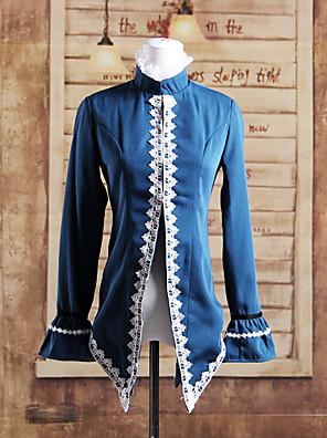 Stå Collar langermet Blå Cotton Lolita Gothic Coat
