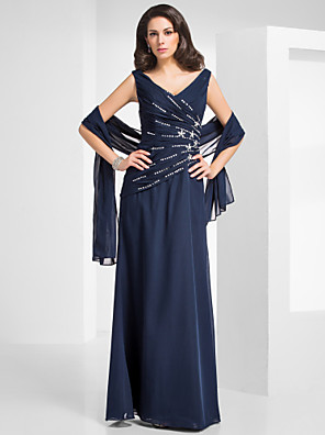 TS Couture® Formal Evening / Military Ball Dress - Elegant Plus Size / Petite Sheath / Column V-neck Floor-length Chiffon with Beading / Criss Cross