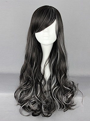 Zipper Black and White Blended 70cm Gothic & Punk Lolita Curly Wig