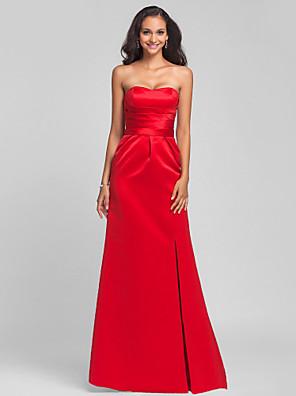 Lanting Bride® שובל סוויפ \ בראש סאטן נשרך שמלה לשושבינה - מעטפת \ עמוד סטרפלס / מחשוף לב פלאס סייז (מידה גדולה) / פטיט עם סרט / שסע קדמי