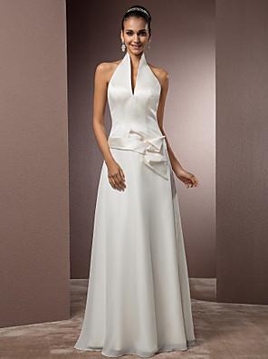 Lanting Bride® מעטפת \ עמוד קטן / מידה גדולה שמלת כלה - שיק ומודרני בהשפעת וינטאג' / פתוח בגב / קו תחתון פשוט עד הריצפה קולר שיפון / סאטן