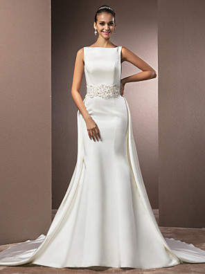 Lanting Bride® בתולת ים \ חצוצרה קטן / מידה גדולה שמלת כלה - קלסי ונצחי / אלגנטי ויוקרתי בהשפעת וינטאג' / קו תחתון פשוטשובל כנסייה