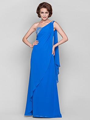 Lanting Bride® מעטפת \ עמוד פלאס סייז (מידה גדולה) / פטיט שמלה לאם הכלה  עד הריצפה / שובל וואטו (מתחבר בצוואר) ללא שרוולים שיפון -