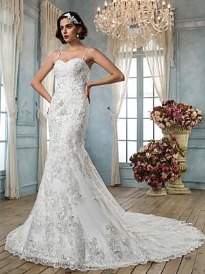 Lanting Bride® Mořská panna Drobná / Nadměrné velikosti Svatební šaty - Klasické & nadčasové / Elegantní & luxusní Retro / Open BackExtra
