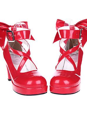 Boty Sweet Lolita Šněrování Vysoký podpatek Boty Mašle 7 CM Červená Pro Dámské Lakovaná kůže