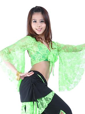 Dança do Ventre Blusas Mulheres Treino Renda Luva de comprimento de 3/4
