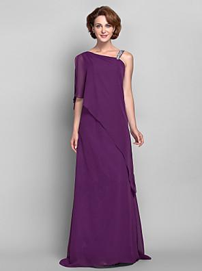 Lanting Bride® מעטפת \ עמוד פלאס סייז (מידה גדולה) / פטיט שמלה לאם הכלה  עד הריצפה ללא שרוולים שיפון - חרוזים