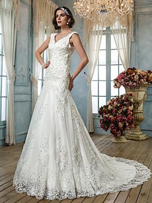Lanting Bride® Trumpet / Mermaid Petite / Plus Sizes Wedding Dress - Classic & Timeless / Elegant & Luxurious Vintage Inspired / Open Back