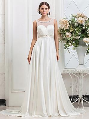 Lanting Bride A-line / Princess Petite / Plus Sizes Wedding Dress-Sweep/Brush Train Scoop Charmeuse