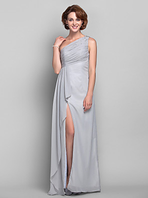 Dress Sheath / Column One Shoulder Floor-length Chiffon with Crystal Detailing / Split Front / Cascading Ruffles / Side Draping