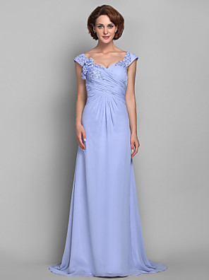 A-line Plus Size / Petite Mother of the Bride Dress Sweep / Brush Train Sleeveless Chiffon withAppliques / Beading / Flower(s) / Criss