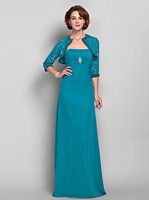 Lanting Bride® Pouzdrové Větší velikosti / Malé Šaty pro matku nevěsty - Včetně bolerka Na zem 3/4 délka rukávu Šifón - Sklady /