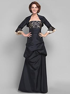 Lanting Bride® A-Linie Větší velikosti / Malé Šaty pro matku nevěsty - Včetně bolerka Na zem 3/4 délka rukávu Krajka / Taft - Krajka /