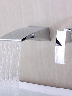 Moderne Vægmonteret Vandfald with  Keramik Ventil Enkelt håndtere to Huller for  Krom , Badekarshaner
