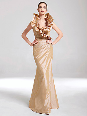 TS Couture® Formal Evening / Military Ball Dress - Elegant Plus Size / Petite Trumpet / Mermaid V-neck Floor-length Taffeta withRuffles / Side
