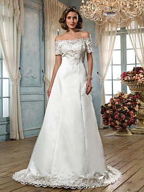 Lanting Bride® גזרת A קטן / מידה גדולה שמלת כלה - קלסי ונצחי / זוהר ודרמטיות בהשפעת וינטאג' שובל סוויפ \ בראש מתחת לכתפיים סאטן עם