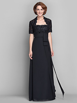 Sheath / Column Plus Size / Petite Mother of the Bride Dress - Wrap Included Floor-length Short Sleeve Chiffon / Lace withAppliques /