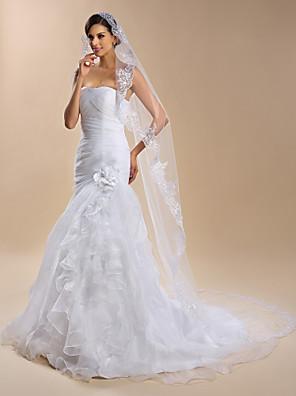 Véus de Noiva Uma Camada Véu Capela Borda com aplicação de Renda Organza Branco