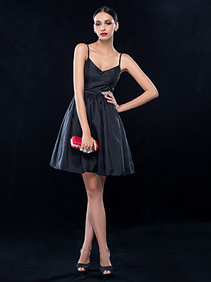 TS Couture® Cocktail Party / Wedding Party Dress - Vintage Inspired / 1950s Plus Size / Petite A-line Spaghetti Straps Short / Mini Taffeta with