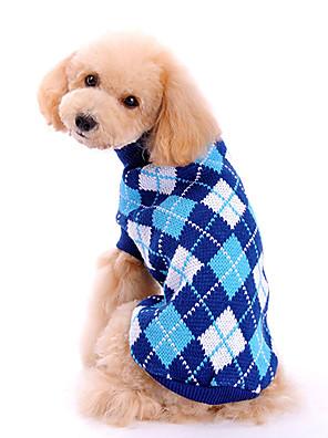 כלבים סוודרים כחול בגדים לכלבים חורף / קיץ/אביב משובץ