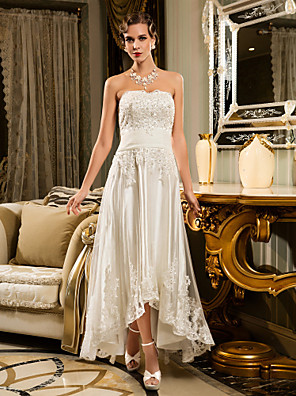Lanting Bride A-line Petite / Plus Sizes Wedding Dress-Asymmetrical Strapless Tulle