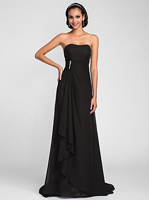 Lanting Bride® Cauda Escova Chiffon Vestido de Madrinha - De Amarrar Linha A Tomara que Caia Tamanhos Grandes / Mignon comMiçangas /