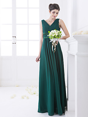 Floor-length Chiffon Bridesmaid Dress A-line V-neck Plus Size / Petite with Crystal Detailing / Criss Cross / Side Draping