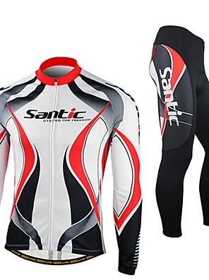 SANTIC® חולצה וטייץ לרכיבה לגברים שרוול ארוך אופנייםנושם / שמור על חום הגוף / עמיד / עיצוב אנטומי / בטנת פליז / עמיד אולטרה סגול / לביש /