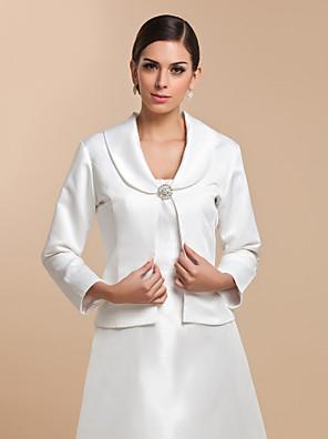Wedding  Wraps Coats/Jackets 3/4-Length Sleeve Satin White Wedding / Party/Evening / Casual T-shirt Clasp