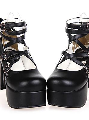 נעליים לוליטה קלאסית ומסורתית עבודת יד עקב גבוה נעליים סרט פרפר 9.5 CM Black ל נשים עור פוליאוריתן