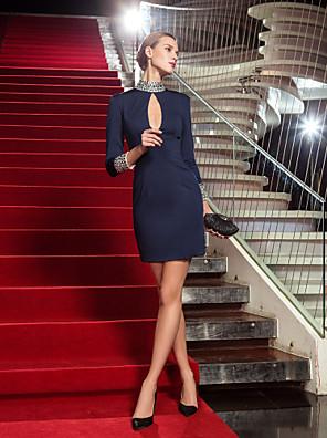 Coquetel / Feriado Vestido - Curto Tubinho Gola Alta Curto / Mini Microfibra Jersey com Detalhes em Cristal