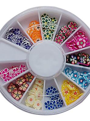 120PCS Blandet Mønster Farverige Flower Fimo Slice Animal Nail Art Decoration